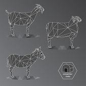 stock photo of wild donkey  - Grey scale illustration of geometric farm animals made of triangle polygons - JPG