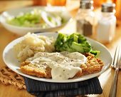 pic of southern fried chicken  - country fried steak with southern style peppered milk gravy - JPG