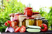 stock photo of pickled vegetables  - Jars of pickled vegetables in the garden - JPG