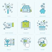 stock photo of payment methods  - Flat line icons for m - JPG