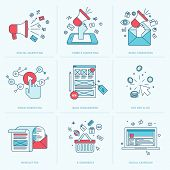 picture of blog icon  - Flat line icons for digital marketing - JPG