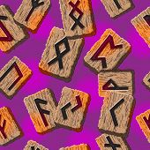 pic of rune  - Norwegian runes Abstract vector background with Template for greeting cards - JPG