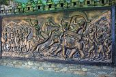 pic of valiant  - Panel depicting the Great War of Haldighat on wall at entrance of Maharana Pratap Museum at Haldighat Rajasthan India Asia - JPG