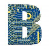 Letter From Electronic Circuit Board Alphabet On White Background - B