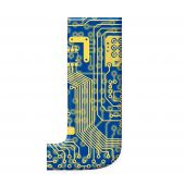 Letter From Electronic Circuit Board Alphabet On White Background - J