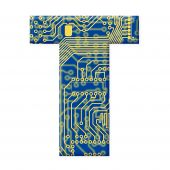 Letter From Electronic Circuit Board Alphabet On White Background - T