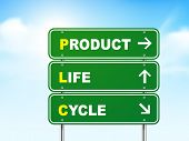 pic of plc  - 3d product life cycle road sign isolated on blue background - JPG