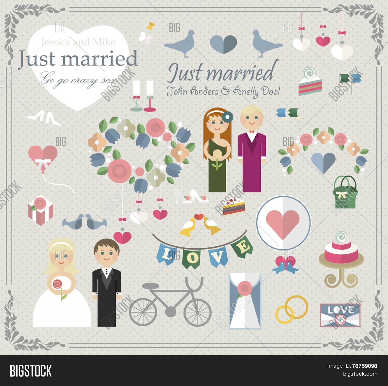 How to scrapbook wedding cards - Set Wedding Elements Wedding For Car Glass Wedding Scrapbook Wedding Cake Flat