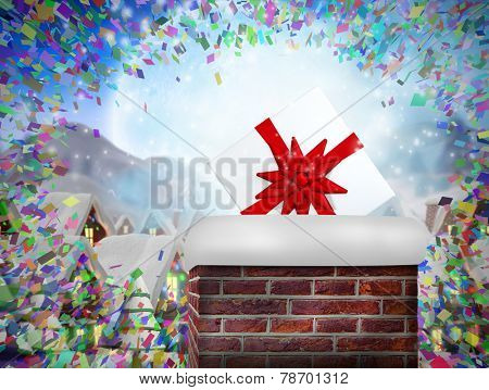 Composite image of chimney filled with gift against quaint town with bright moon