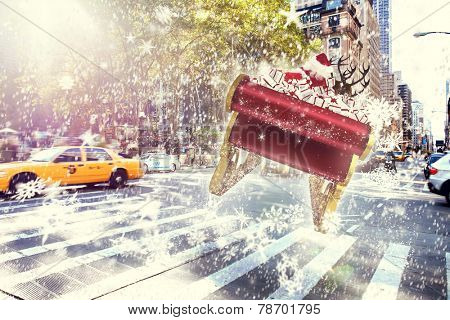 Santa flying his sleigh against new york street
