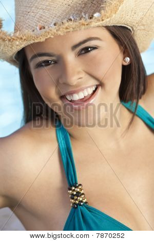 Beautiful Happy Latina Hispanic Woman In Bikini And Cowboy Hat