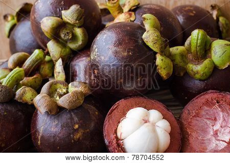 Several Fresh Purple Tropical Mangosteens