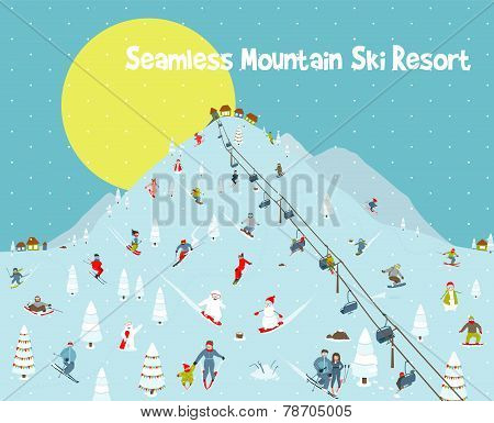 Cartoon Mountains Skyline Ski Resort Seamless Border Pattern