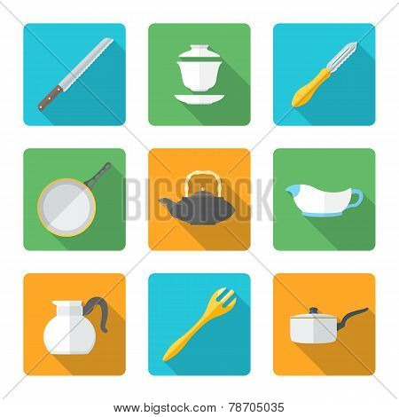 flat style design dinnerware icons set