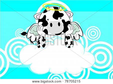 baby cow angel cartoon background