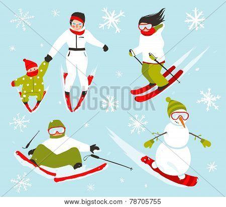 Skier Snowboarder Snowflakes Winter Sport Set
