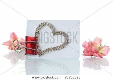 Blank Card With Heart And Roses