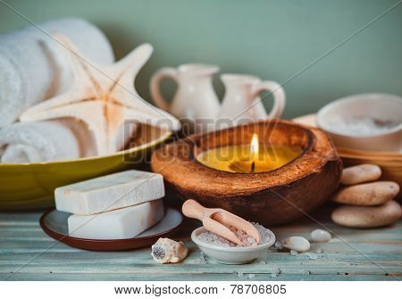 Spa toiletries, soap, oil