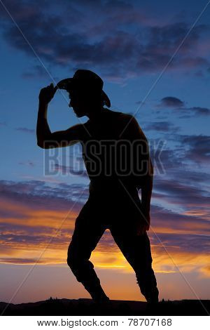 Silhouette Of Cowboy Lean And Touch Hat