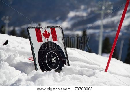 target for biathlon on the snow witn canadian flag