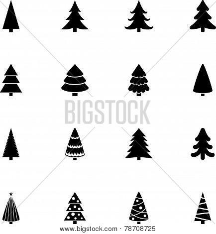 christmas tree vector black icon set