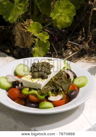 Greek Salad In Sunlight Santorini