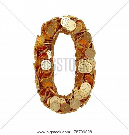 Alphabet Number Digit Zero 0 With Golden Coins Isolated On White Background