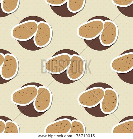 Potato Pattern. Seamless Texture With Ripe Potatoes