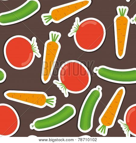 Cucumber, Carrot, Tomato Pattern. Seamless Texture