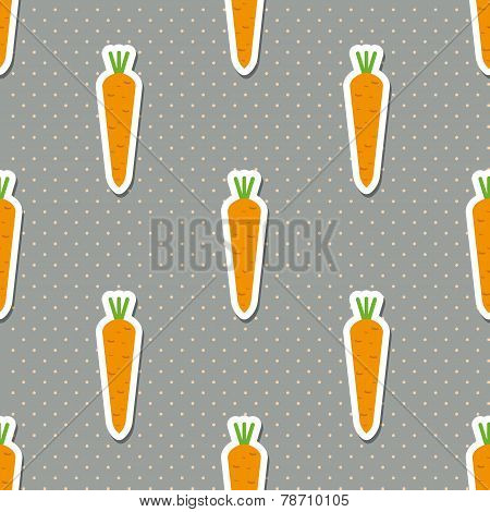 Carrot Pattern. Seamless Texture With Ripe Carrots