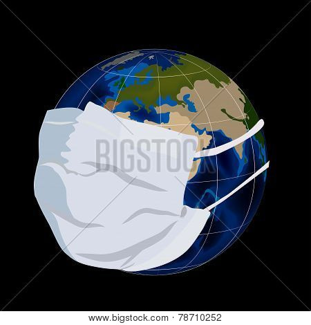 Globe in medical mask.