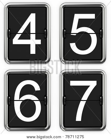 Digits 4, 5, 6, 7 on Mechanical Scoreboard.