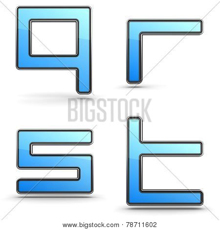 Letters Q, R, S, T - Set in Touchpad Style.