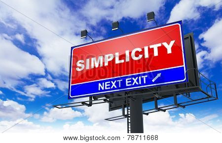 Simplicity on Red Billboard.