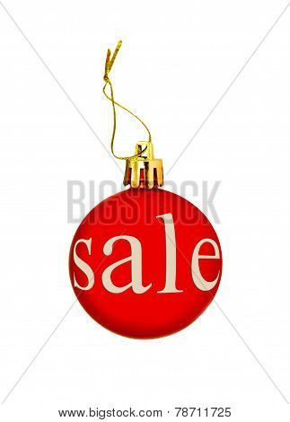 Red Christmas Ball With Sale Tag.isolated.