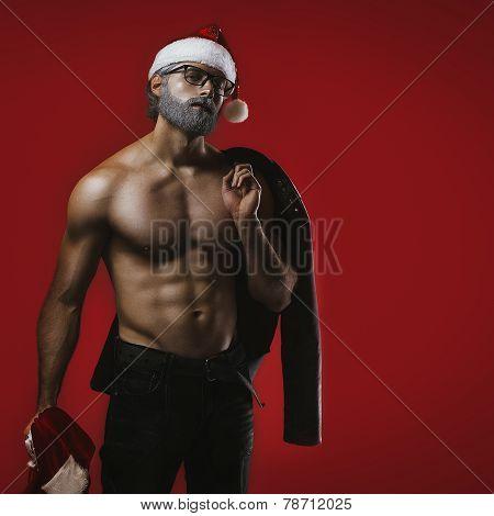 Bad Santa Fantasy On Red Background