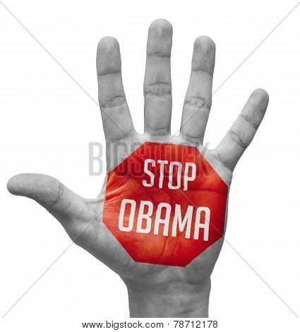 Stop Obama Concept on Open Hand.