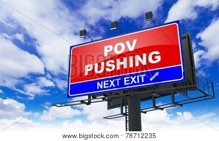 Pov Pushing on Red Billboard.