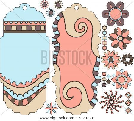 Beautiful vector tags and flowers collection