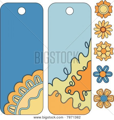 Beautiful vector tag or label collection and flowers