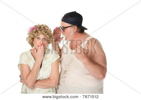 Man Sharing a Secret with a Woman on White Background