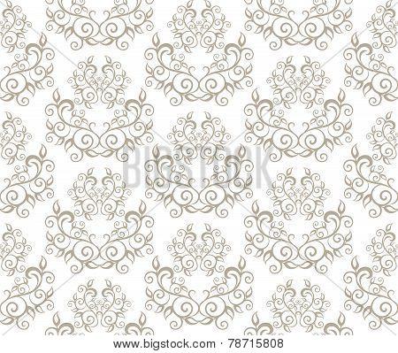 Elegant Seamless Pattern of Floral Vintage Classic Vines