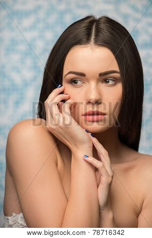 Beautiful girl in the bathroom