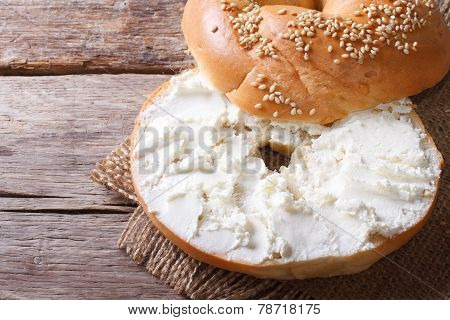 Bagel With Cream Cheese Close-up Top View Of The Horizontal