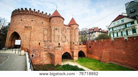 Barbican fortress in the historic center of Warsaw