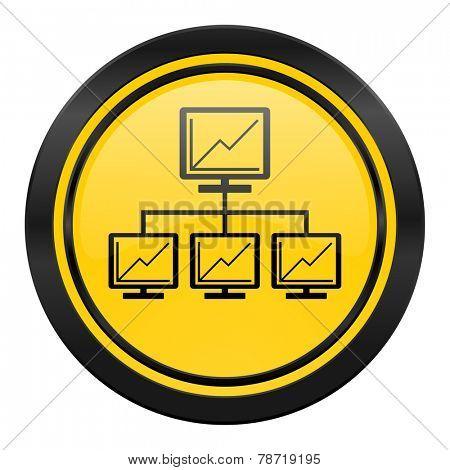 network icon, yellow logo, lan sign