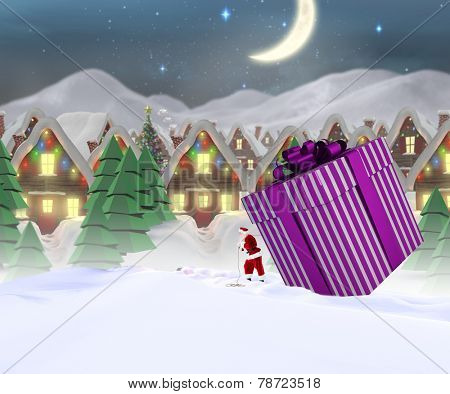 Santa delivering large gift against quaint town with bright moon