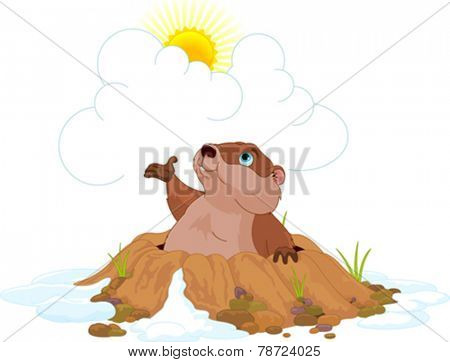Illustration of very cute groundhog
