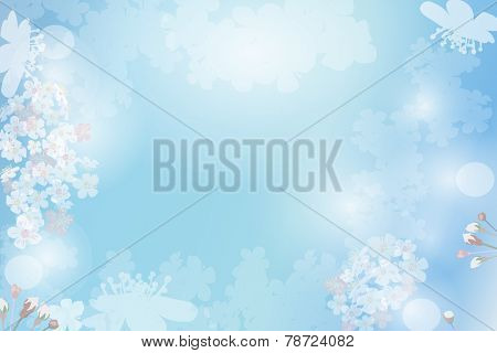 Abstract blue plants and flowers background. Cherry flowers and textspace in center. EPS 10 format.