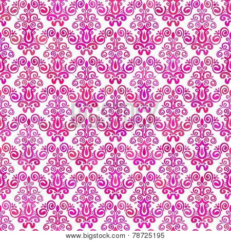 Abstract background Hand drawn damask seamless ornament Magenta on white